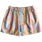 Glam Technicolor Stripes Silk Boxers