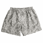 Grey Charcoal Paisley Floral Silk Cotton Boxers