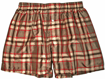 Crimson Red Grey Black Silk Boxers