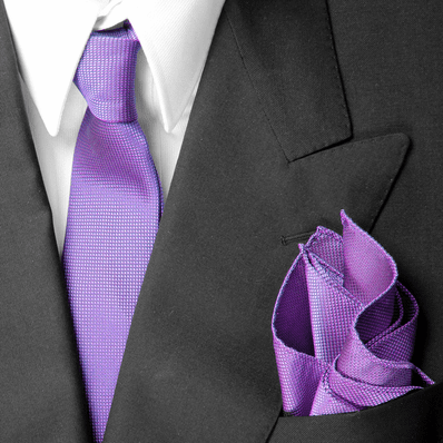 Lilac Skinny Silk Tie And Pocket Square Set