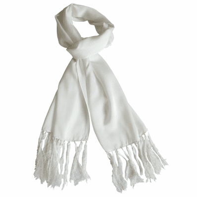 Long Fringed Silk Scarf