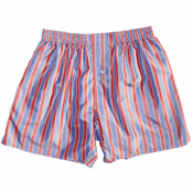 Misty Red Denim Stripes Silk Boxers
