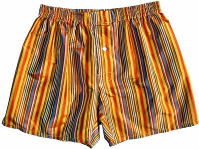 Gold Multicolor Stripes Silk Boxers