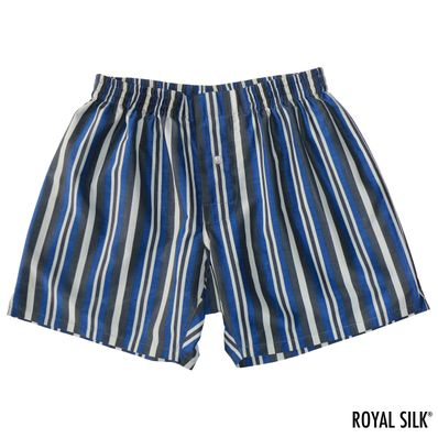 Navy Black Stripes Men's Silk Cotton Boxers