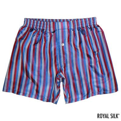 Navy Grey Sangria Stripes Men's Silk Boxers