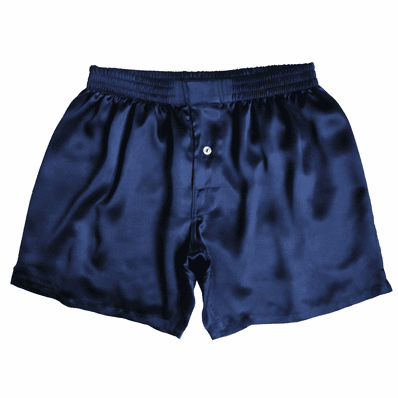 Navy Opal Satin Silk Boxers