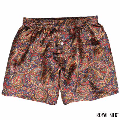 Navy Paisley Mulberry Silk Boxers