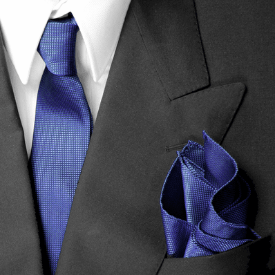 Navy Skinny Silk Tie And Pocket Square Set