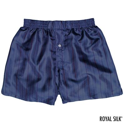 Navy Stripes Men's Silk Boxers