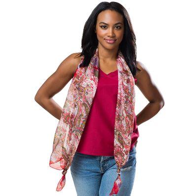 Red Arabesque Silk Long Scarf