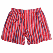 Red Crimson Rose Stripes Men's Silk Boxers