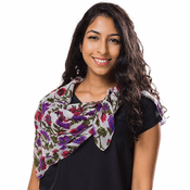 Red Purple Floral Silk Scarf