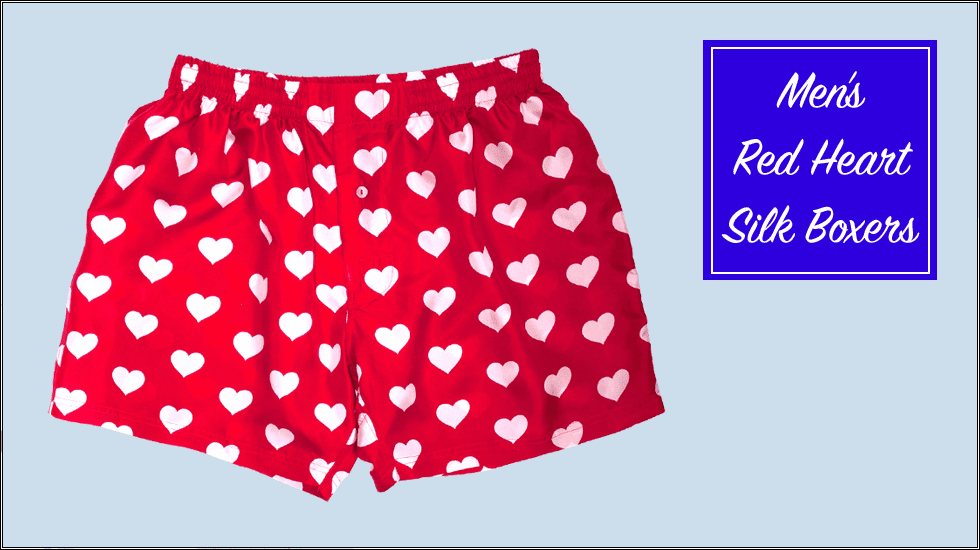Red Silk Hearts Men's Boxers