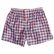 Red White Blue Checks Men's Silk Boxers