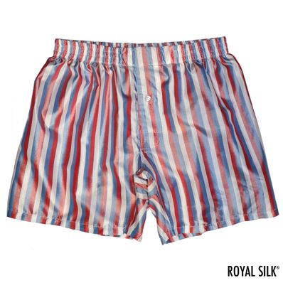 Red White Blue Stripes Men's Silk Boxers