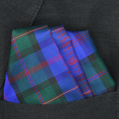 Royal Blue Green Tartan Plaid Silk Pocket Square