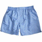 Sea Blue Checks Silk Boxers