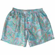 Turquoise Paisley Mulberry Silk Boxers