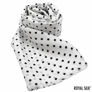 White Polka Dot Silk Aviator Scarf