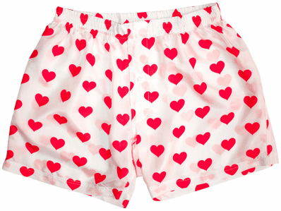 White Silk Hearts Men's Boxers