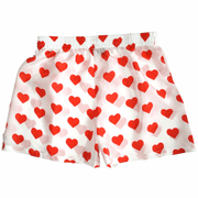 White Silk Heart Boxers for Women