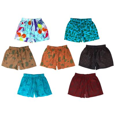Patterned Silk Sleep Shorts, Assorted 3-Pack