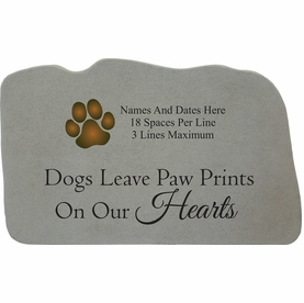 Personalized Dog Memorial Stone - Paw Prints On Hearts