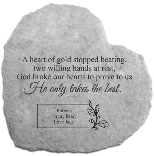 Personalized Memorial Garden Stone - Heart of Gold