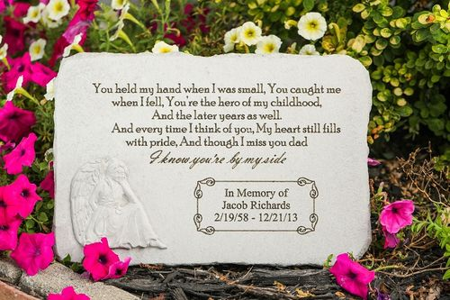 Personalized Father Memorial Garden Stone - You Held My Hand