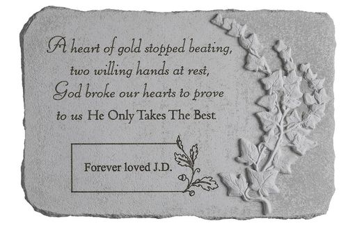 Personalized Memorial Stone - A Heart Of Gold