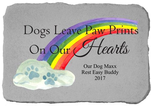 Personalized Memorial Stone - Paw Prints