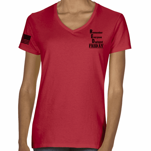 Ladies RED Friday V-Neck T-Shirt