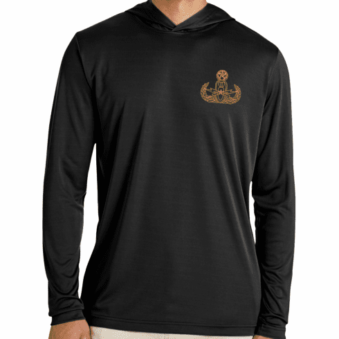 Left Chest Design Men's Performance Long Sleeve Tee With Hood