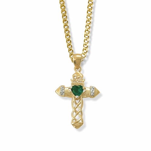1-1/16 Inch 14K Gold Over Sterling Silver Claddagh with Green CZ Stone Center Cross Necklace