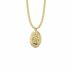 1-1/16 Inch 14KT Gold Plated Over Sterling Silver Oval St. Michael Medal, Patron Saint of Police Officers