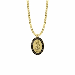 1-1/16 Inch 14K Gold Over Sterling Silver Oval with Black Enameled Border St. Christopher Medal, Patron Saint of Travelers