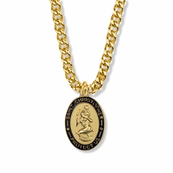 1-1/16 Inch 14K Gold Over Sterling Silver Oval with Black Enameled Border St. Christopher Medal, Patron of Travelers