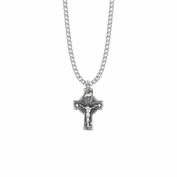 1-1/16 Inch Pewter Diamond Ends Celtic Crucifix Necklace
