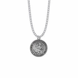 1-1/16 Inch Pewter Large Round Saint Christopher Medal, Patron Saint of Travelers