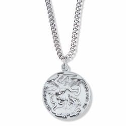 1-1/16 Inch Round Sterling Silver St. Michael Medal, Patron of Police