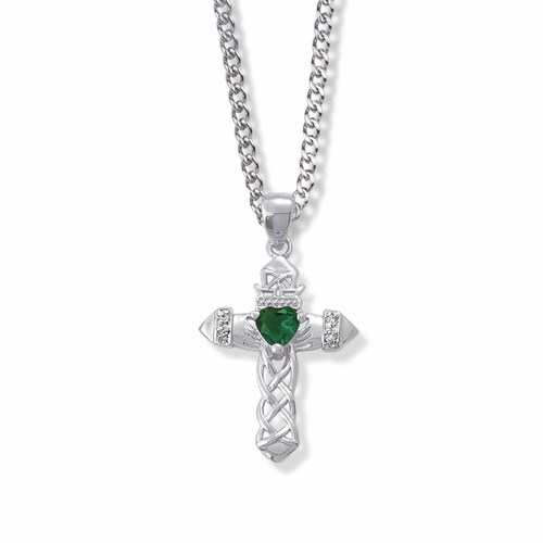 1-1/16 Inch Sterling Silver Claddagh with Green CZ Stone Center Cross Necklace