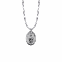 1-1/16 Inch Sterling Silver Large Oval St. Jude Medal, Patron Saint of Hopeless Causes and Desperation