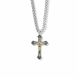 1-1/16 Inch Two-Tone Sterling Silver Antique Style Crucifix Necklace