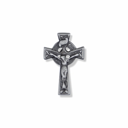 1-1/16 x 3/4 Inch Pewter Celtic Crucifix Pin