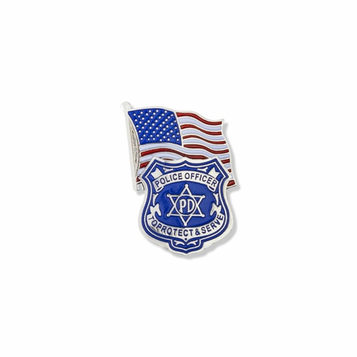 1-1/16 x 3/4 Inch Silver Enameled Police Officer Badge and American Flag Lapel Pin