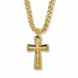 1-1/2 Inch 14K Gold Over Sterling Silver Polished Edges Crucifix Necklace