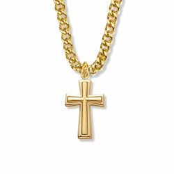 1-1/2 Inch 14K Gold Over Sterling Silver Raised Inner Cross Necklace