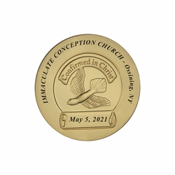 1-1/2 Inch Gold Plated Die Struck Holy Confirmation Coin with Imprinting