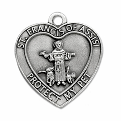 1-1/2 Inch Pewter Heart and St. Francis Pet Medal