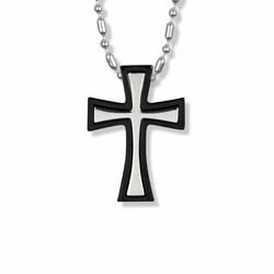 1-1/2 Inch Stainless Steel Two Piece Black Cross Necklace
